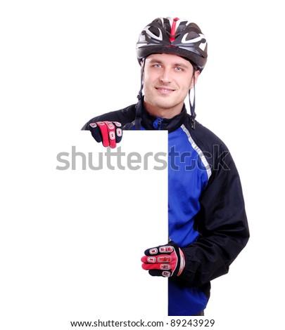 Cyclist with blank sign