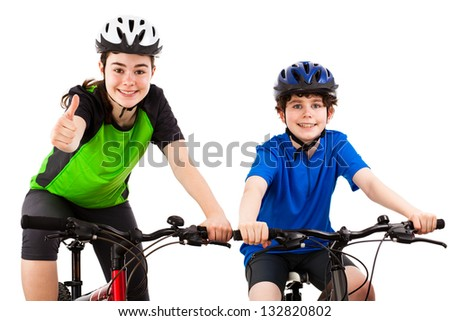 Cyclists isolated on white background - stock photo