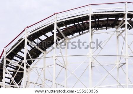 Cyclone Roller coaster in the Coney Island Astroland Amusement Park, New York, Usa - stock photo