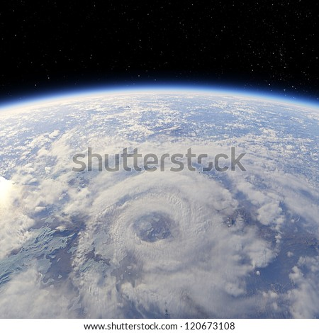 Cyclone view from the Earth orbit 3d render