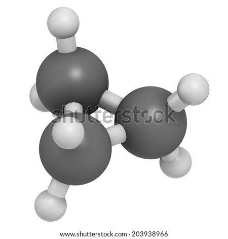 Cyclopropane cycloalkane molecule. Used as anaesthetic. Atoms are represented as spheres with conventional color coding: hydrogen (white), carbon (grey).