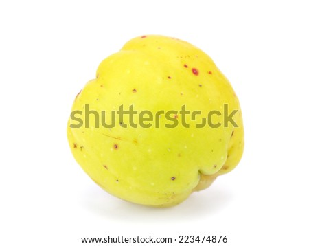 Cydonia or japanese quince fruit on a white background      - stock photo