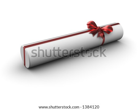 Cylinder gift with satin bow - stock photo