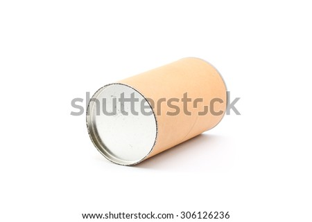Cylinder paper can isolated on white background.