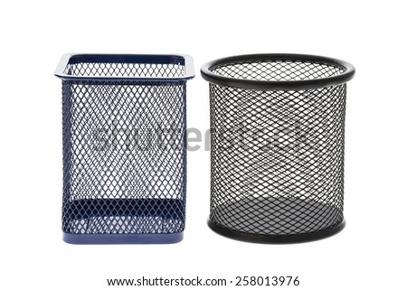 cylinder shaped metal net box pencil holder isolated on white background.