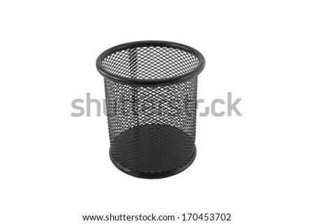 cylinder shaped metal net box pencil holder isolated on white with clipping path - stock photo