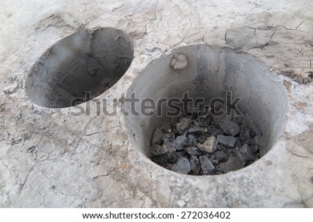 Cylindrical specimens (roadway core specimens) of the asphalt pavement taken for asphalt quality analysis in the laboratory - stock photo