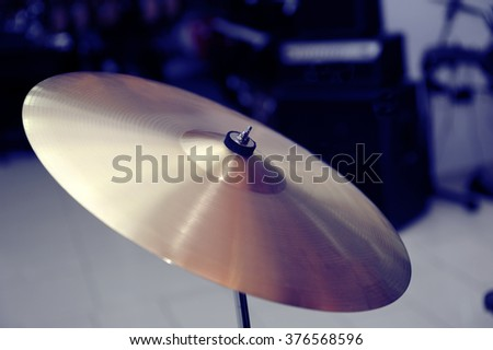 Cymbal closeup with drum set. Fragment drums - stock photo