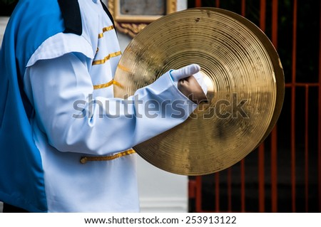 Cymbals in hand- School Marching Band - stock photo