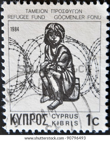 CYPRUS - CIRCA 1984: stamp printed by Cyprus, shows Child and Barbed Wire, circa 1984
