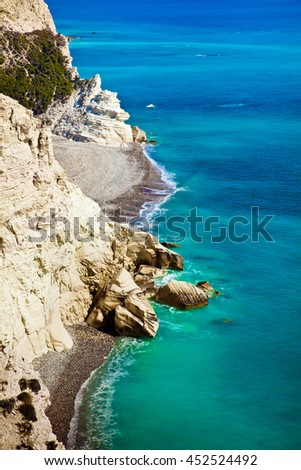 Cyprus coastline. Beautiful view of Mediterranean Sea and mountains landscape on the road to Paphos - stock photo