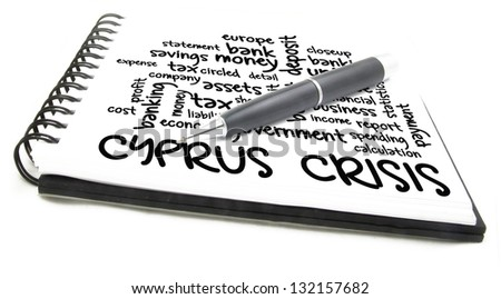 cyprus crisis word cloud on notes - stock photo