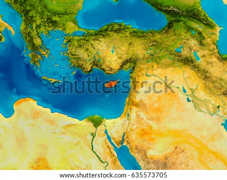 Cyprus highlighted red on physical map stock illustration cyprus highlighted in red on physical map 3d illustration elements of this image furnished sciox Gallery