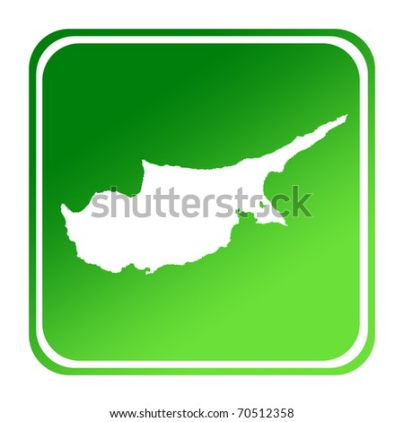 Cyprus map button in gradient green; isolated on white background with clipping path. - stock photo