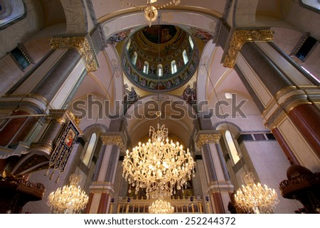 CYPRUS,  - MAY 17 2009:  Interior of Greek orthodox Church during the celebration of Orthodox Easter, The church has  it's special interior ornaments and design.  - stock photo
