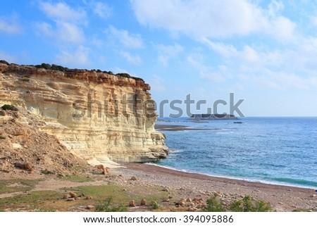 Cyprus natural landscape - Mediterranean sea coast near Lara Bay. - stock photo