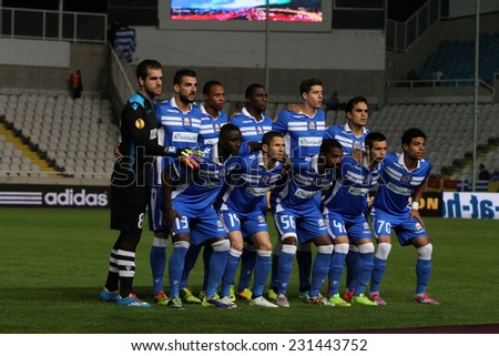 CYPRUS,NICOSIA- NOV 6:Apollon Limassol FC player team pose for a photo  during the Uefa Europa League against Borussia Monchengladbach in Gsp Stadium on November 6,2014  - stock photo