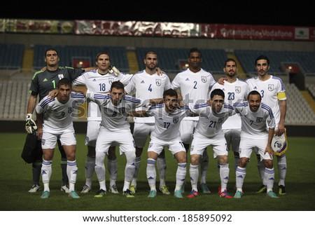 CYPRUS,NICOSIA - NOV 14:Cyprus national football team at Gsp Stadium in Nicosia on November 14th,2012 - stock photo