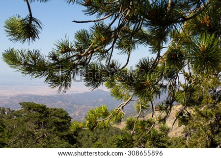 Cyprus. Panorama of mountain peaks.