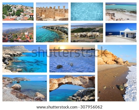 Cyprus travel photo collage - images collection with monuments, Kavo Greko, Paphos and beaches. - stock photo