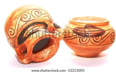 Cyprus vases isolated on white background.