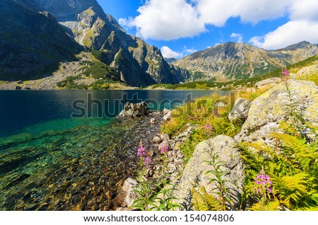 Czarny Staw alpine lake near Morskie Oko on sunny summer day, Tatry Mountains (High Tatras), Poland - stock photo