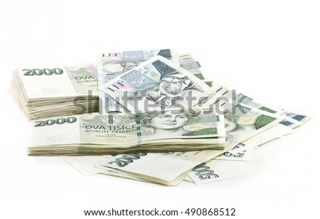 czech banknotes nominal value two and five thousand crowns on white background. 300 000 Kc is approximately 12 450 US dollars (USD) or 11 100 Euro (EUR)