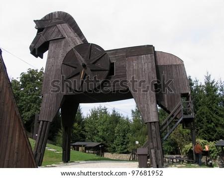 Czech beauty, Bouzov, the biggest european wooden horse - stock photo