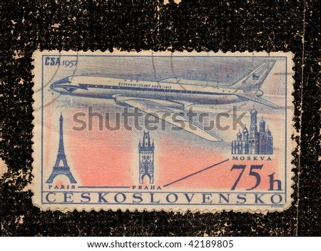 CZECH-CIRCA 1957:A stamp printed in CZECH shows image of airplane flying from Moscow to Paris, series, circa 1957