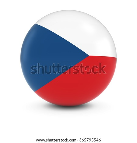 Czech Flag Ball - Flag of the Czech Republic on Isolated Sphere