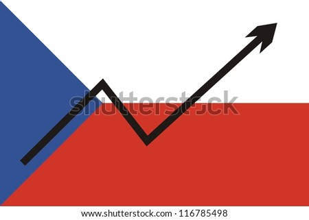 Czech flag with economic rising graph