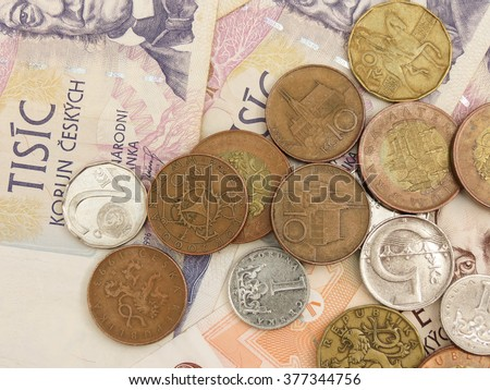 Czech Koruna coins and banknotes currency of Czech Republic - stock photo