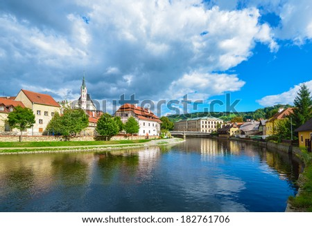 Czech Krumlov - small city in the South Bohemian Region of the Czech Republic. Cesky Crumlaw on the Vltava River - stock photo