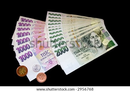 Czech money, bills and coins on black background