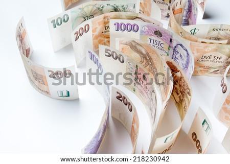 czech money, czech crown - stock photo