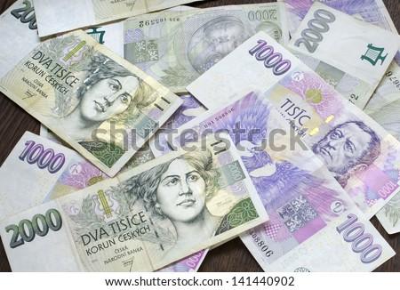 czech money, czech krown, ceska koruna - stock photo