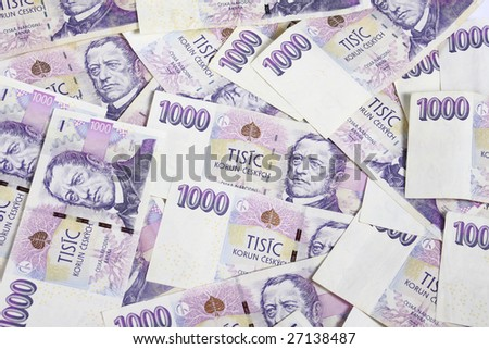 Czech money for white background