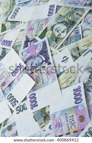 Czech paper money on white background