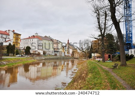 CZECH REP - DECEMBER 28, 2014: mirror town in river