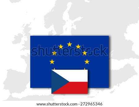 Czech Republic and European Union Flag with Europe map background - stock photo