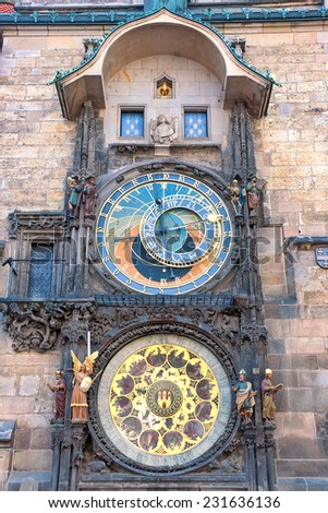 Czech Republic: Astronomical Clock in Prague. Vertical photo. - stock photo