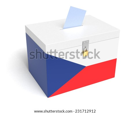 Czech Republic ballot box with Czech Republic Flag. Isolated on white background. - stock photo