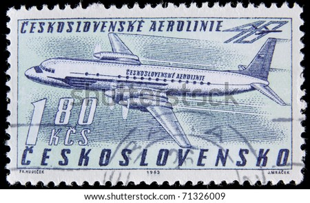 CZECH REPUBLIC - CIRCA 1963 : A post stamp printed in Czechoslovakia shows  passenger airplane, devoted Czech airlines, circa 1963