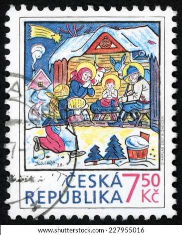 CZECH REPUBLIC - CIRCA 2007: Christmas post stamp printed in Czechoslovakia (Ceska) shows nativity scene by Josef Lada; birth of jesus Christ at bethlehem; Scott 3162 7.5k multicolor, circa 2007 - stock photo