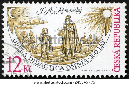CZECH REPUBLIC - CIRCA 2007: post stamp printed in Czechoslovakia (Ceska) shows (John Amos Comenius)  J. A. Komensky talking to child, opera didactica Omnia 350 years; Scott 3354 12k, circa 2007 - stock photo