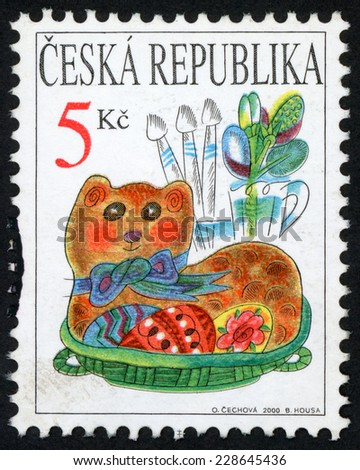 CZECH REPUBLIC - CIRCA 2000: post stamp printed in Czechoslovakia (Ceska) shows symbols of easter: baked lamb with bow and painted eggs, pussy willow twigs in vase; Scott 3115 A1172 5k, circa 2000 - stock photo