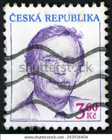CZECH REPUBLIC - CIRCA 1995: stamp printed in Ceska (Czechoslovakia) shows president Vaclav Havel (playwright, essayist, poet, philosopher, dissident, statesman); Scott 2948 A1000 3.60k; circa 1995 - stock photo