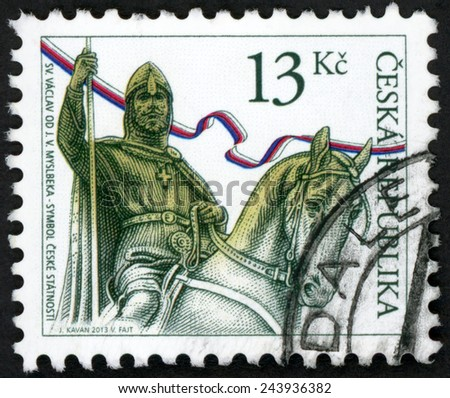 CZECH REPUBLIC - CIRCA 2013: stamp printed in Ceska (Czechoslovakia) shows svaty Vaclav od J. V. Myslbeka - symbol ceske statnosti; st. Wenceslas; duke of bohemia in armour on horse; 13k, circa 2013 - stock photo