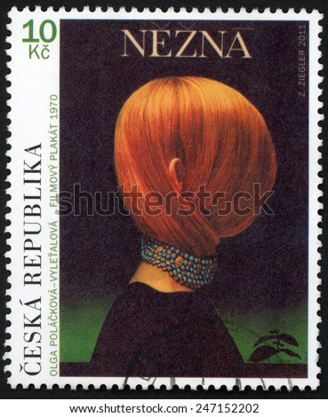CZECH REPUBLIC - CIRCA 2011: stamp printed in Ceska shows Nezna (Gentle creature, Une femme douce) french film poster 1970; Olga Polackova-Vyletalova; Robert Bresson; Scott 3514 10k; circa 2011 - stock photo