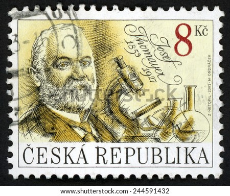 CZECH REPUBLIC - CIRCA 2003: stamp printed in Czechosovakia (Ceska) shows Josef Thomayer (1853-1927) physician writer and microscope, laboratory bottles; famous men; Scott 3194 A1223 8k; circa 2003;  - stock photo